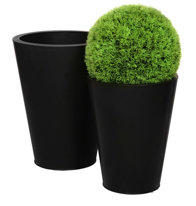 H69.5cm Zinc Galvanised Black Cone Planter - By Primrose®