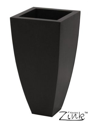 60cm Zinc Galvanised Black Tapered Cube Planter - By Zink™
