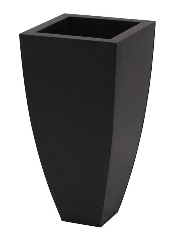 80cm Zinc Galvanised Black Tapered Cube Planter - By Primrose®