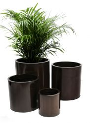 H26cm Zinc Galvanised Mocha Brown Cylinder Pot - By Primrose™
