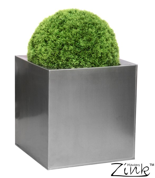 50cm Zinc Galvanised Silver Cube Planter - By Zink™