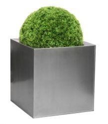 30cm Zinc Galvanised Silver Cube Pot - By Primrose™