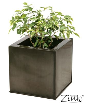 30cm Zinc Galvanised Pewter  Cube Planter - By Zink�