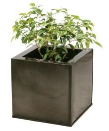 30cm Zinc Galvanised Pewter Cube Pot - By Primrose™