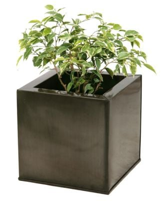 40cm Zinc Galvanised Pewter Cube Planter - By Primrose®