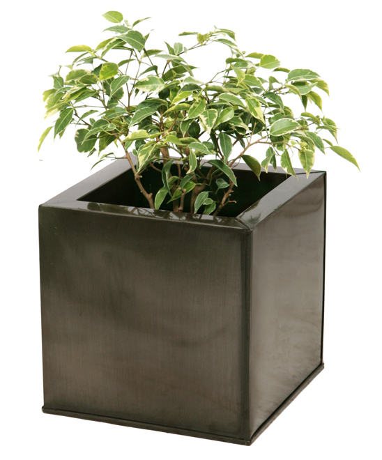 60cm Zinc Galvanised Pewter  Cube Planter - By Primrose®