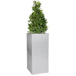 H75cm Zinc Galvanised Tall Silver Cube Planter - By Primrose™