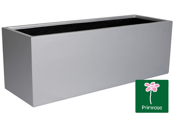 L80cm Matt Silver Fibreglass Trough Planter -  By Primrose®