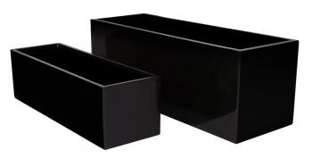 L80cm Gloss Fibreglass Trough Planter in Black - By Primrose®