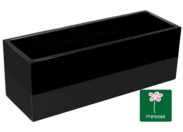 L80cm Gloss Fibreglass Trough Planter in Black - By Primrose™