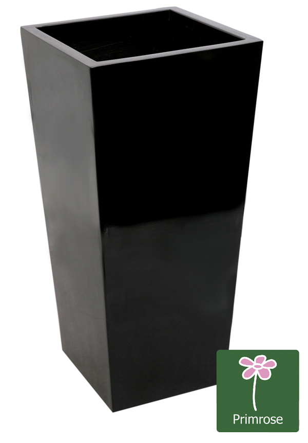 60cm x 34cm Gloss Tall Flared Square Fibreglass Planter in Black - By Primrose™