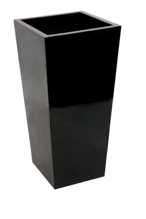 1.2m x 43cm Gloss Tall Flared Square Fibreglass Planter Black - By Primrose™