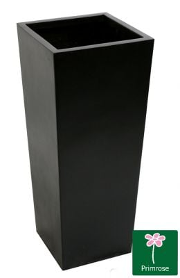 H90cm Tall Flared Square Fibreglass Planter in Matt Black -  By Primrose®