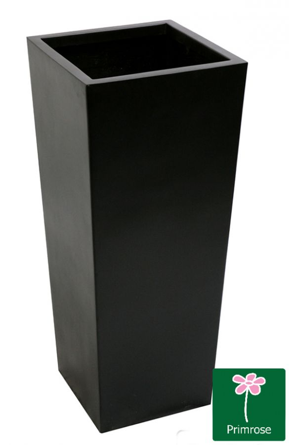 90cm x 40cm Tall Flared Square Fibreglass Planter in Matt Black - By Primrose™