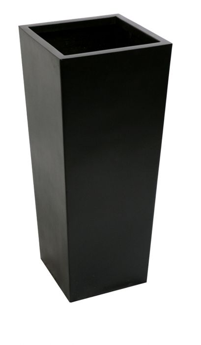 W40cm x H90cm Tall Flared Square Fibreglass Planter in Matt Black -  By Primrose®