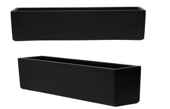 L76cm Fibreglass Window Box Planter in Matt Black - By Primrose®