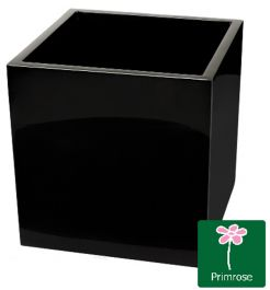 H40cm Fibreglass Cube Gloss Planter in Black - By Primrose™