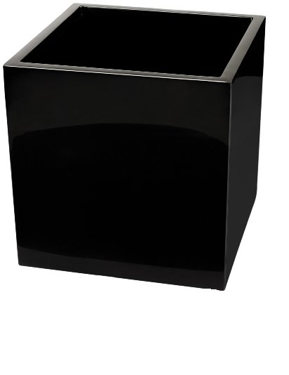 H60cm Gloss Fibreglass Cube Planter in Black - By Primrose™
