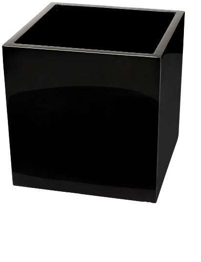 H50cm Fibreglass Cube Gloss Planter in Black - By Primrose™
