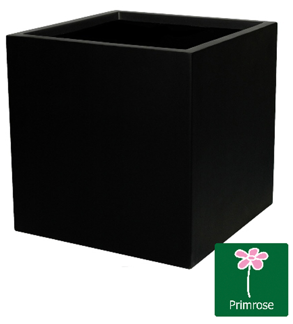 H50cm Fibreglass Cube Planter in Matt Black - By Primrose®