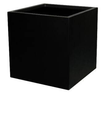 H40cm Fibreglass Cube Planter in Matt Black - By Primrose®