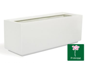 L1.15m Fibreglass Trough Gloss Kickbottom Planter in White - By Primrose®