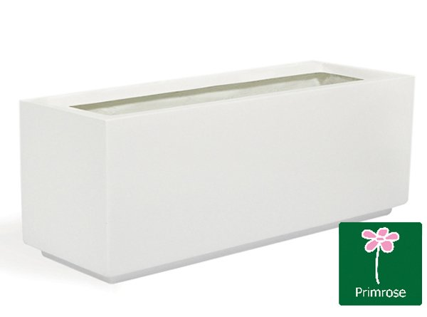 L1.2m Fibreglass Trough Gloss Planter in White - By Primrose™