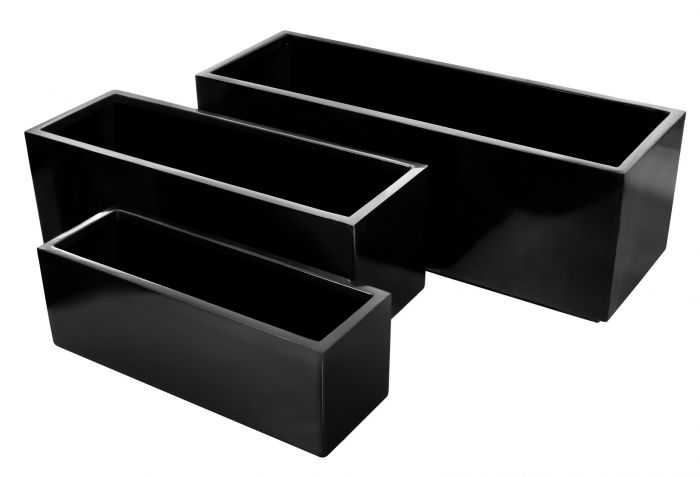 L73cm Fibreglass Trough Gloss Kickbottom Planter in Black - By Primrose®