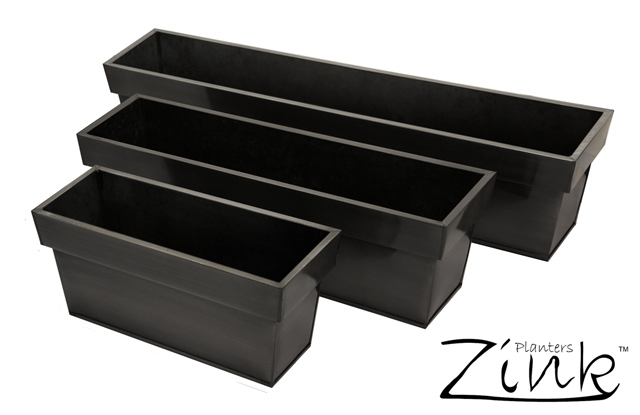 40cm Zinc Small Pewter Edge Trough Planter - By Primrose®