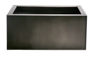 L75cm Zinc Galvanised Pewter Trough Planters - By Primrose™
