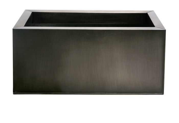 L64cm Zinc Galvanised Pewter Trough Planter - By Primrose™