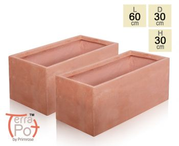 Terracotta Fibrecotta Trough Planters - Set of 2 - L60cm x H30cm x D30cm