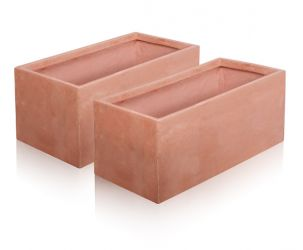 50cm Terracotta Fibrecotta Trough Planters - Set of 2