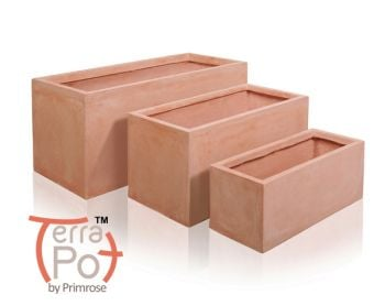 Terracotta Fibrecotta Trough Planters - Mixed Set of 3 - L50cm/L60cm/L80cm