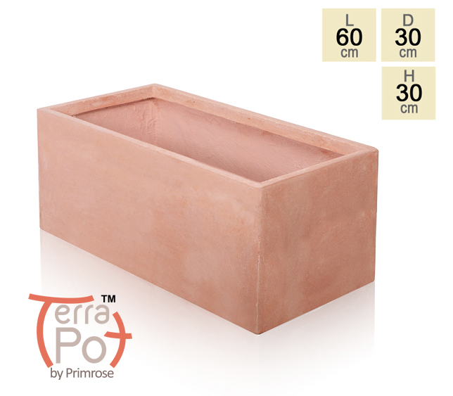 60cm Terracotta Fibrecotta Trough Planter
