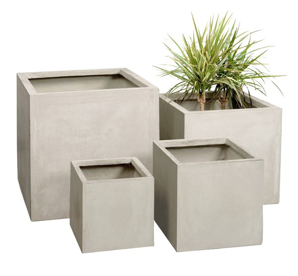 40cm Terracotta Fibrecotta Stone Cube Planter - Set of 2