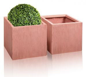 30cm Terracotta Fibrecotta Textured Fibrecotta Cube Pot - Set of 2