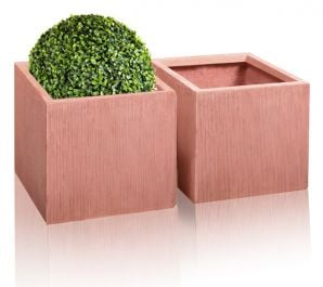 36cm Terracotta Fibrecotta Textured Cube Planters - Set of 2