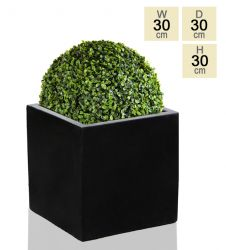 30cm Polystone Black Medium Cube Pot