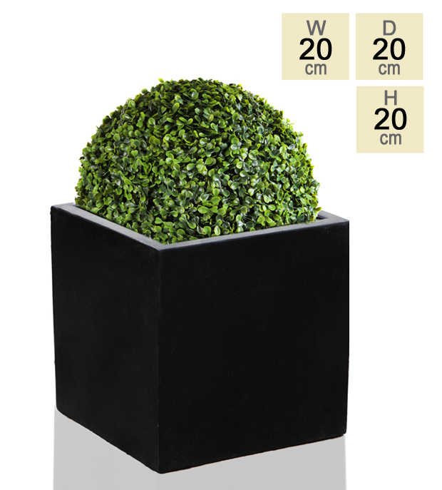 20cm Polystone Small Black Cube Pot