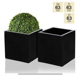 63cm Polystone Black Cube Planter – Set of 2