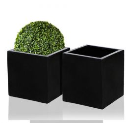 20cm Polystone Black Cube Pot – Set of 2