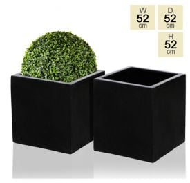 52cm Polystone Black Cube Planter – Set of 2