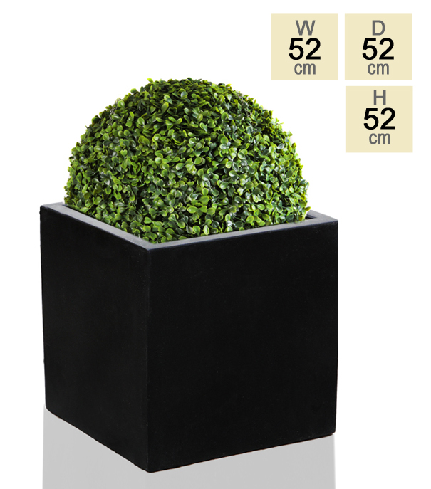 52cm Polystone XL Black Cube Planter