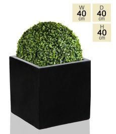 40cm Polystone Large Black Cube Planter