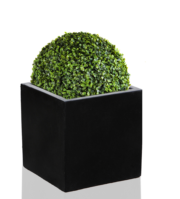30cm Polystone Black Medium Cube Planter