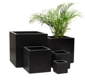 Black Polystone Cube Planter - Mixed Set of 3 - H40cm/H30cm/H20cm