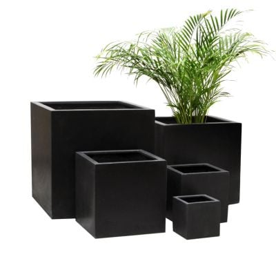 Black Polystone Cube Planter – Mixed Set of 3 H63cm/H52cm/H40cm