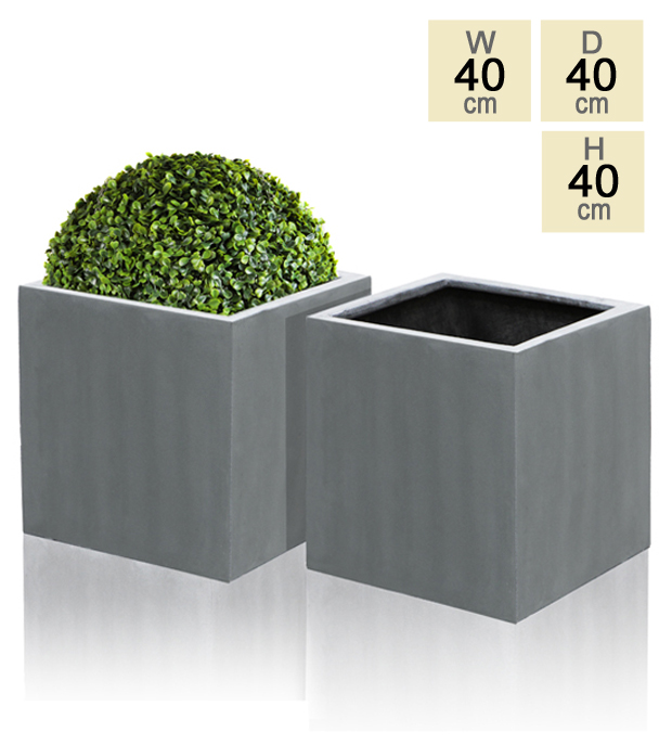 Grey Polystone Cube Planter  – Set of 2 - H40cm