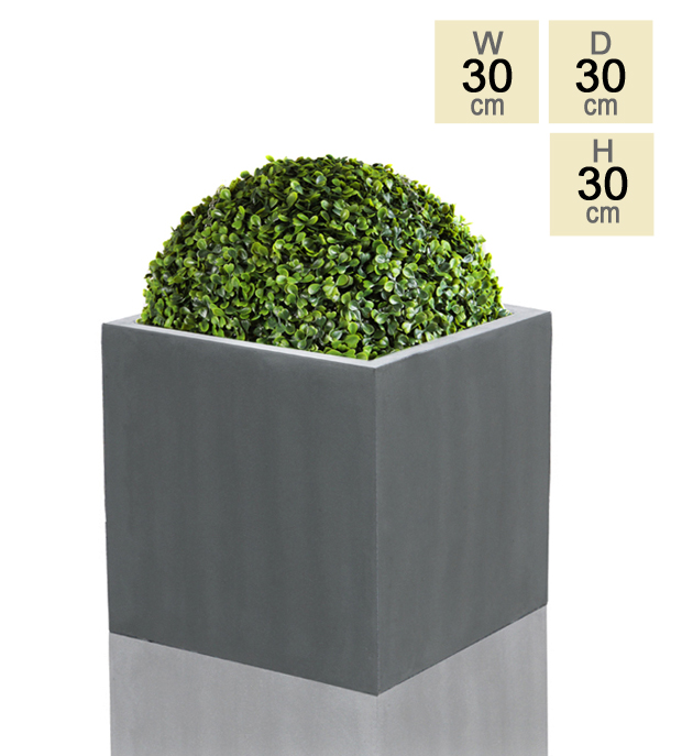 30cm Polystone Medium Grey Cube Pot